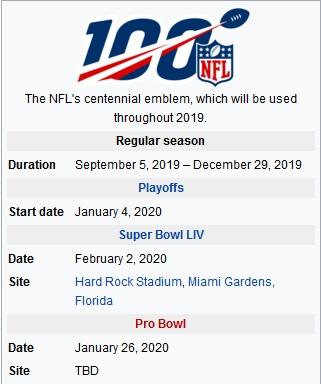 NFL 2019-2020 Schedule